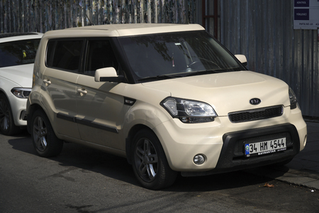 Istanbul, Turkey - October 7, 2017 : A beige colored Kia Soul was parked at the street at Istanbul, Besiktas.