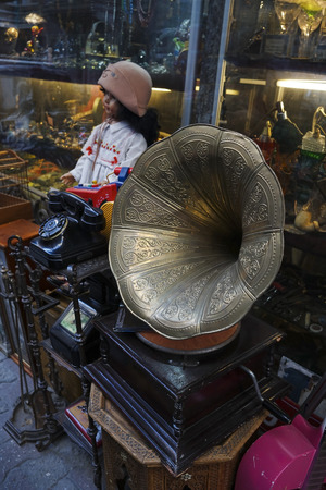 Old Gramophone and Other Antique Objects At Antiques Market