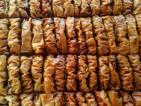 Home made walnut baklava from directly above