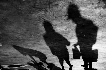 Shadows of A Family with Cat