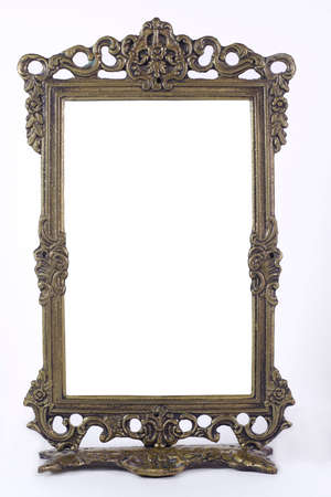Antique blank photo frame with isolated black interior
