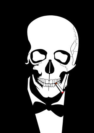 cancer de pulmon: cr�neo de fumar Vectores