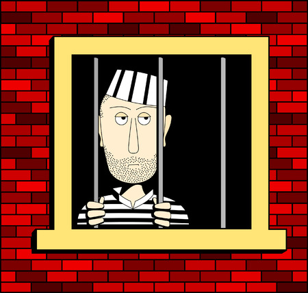 Prisoner in the barred window, illustrated in a square format