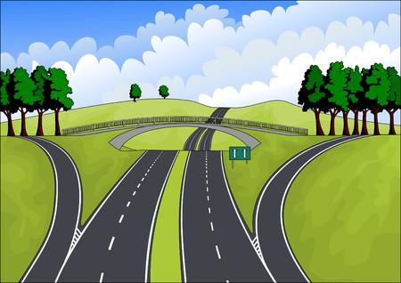 cruce de caminos: autopista en el paisaje de verano