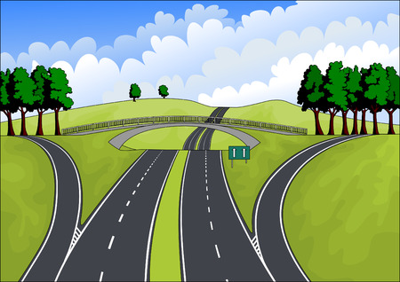 highway in the summer landscape Stock Vector - 7213181