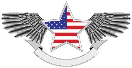estados unidos bandera: estrella alado con la bandera de Estados Unidos