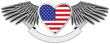 winged heart with the U.S. flag Stock Vector - 7548715