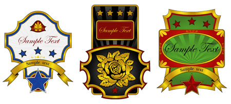 three labels decorated with gold Illustration