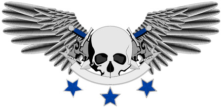 Winged Human Skull logo with swords