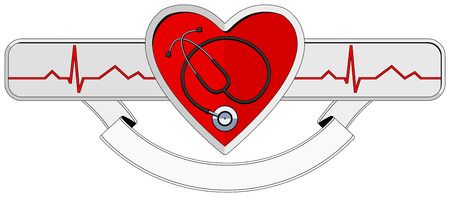 medical emblem: logo Heart and stethoscope