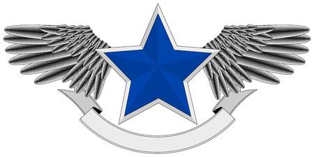 winged blue star logo Stock Vector - 7548711