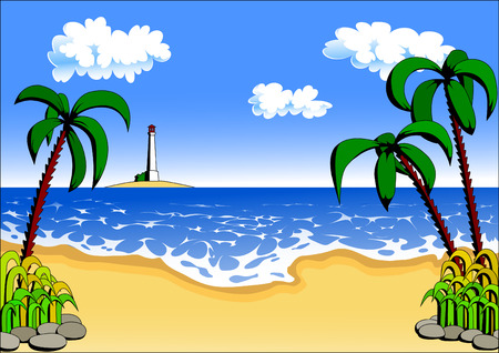 beach with palm trees Stock Vector - 7578456
