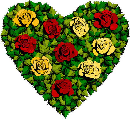 roses and blood: Flowers Green Heart of roses and leaves Illustration