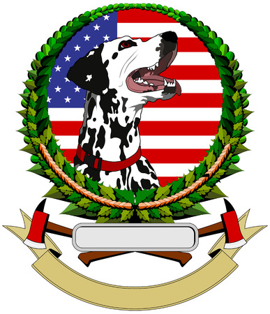 logo with Dalmatians, the U.S. flag in the background Vector