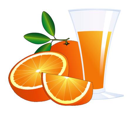 orange cut: naranjas y un vaso de jugo  Vectores