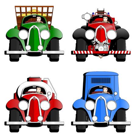 four old trucks Illustration