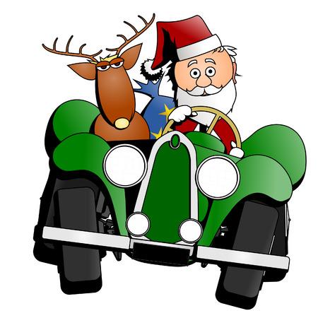 santa claus cartoon: Santa Christmas car Illustration