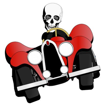 convertible: skeleton driving the car Illustration