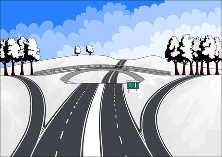 highways in winter landscape Vector