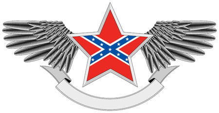 winged star with Flag of the Confederacy Vector