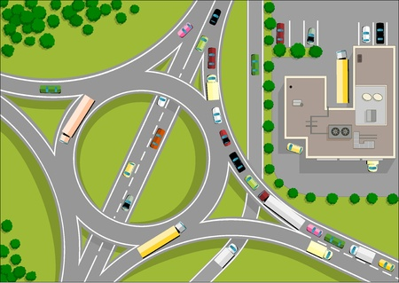 2d map: traffic roundabout