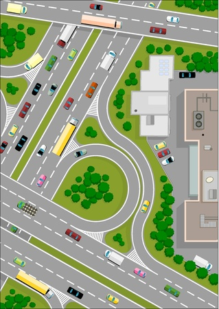 truck on highway: highway intersection