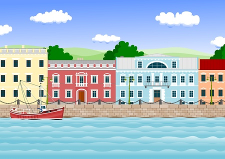 waterfront in the old town Stock Vector - 10664337