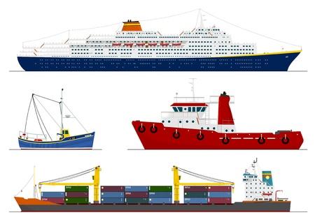 barco caricatura: cuatro naves aisladas Vectores