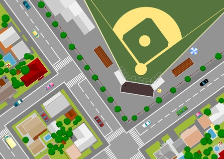 baseball field on the outskirts of Vector