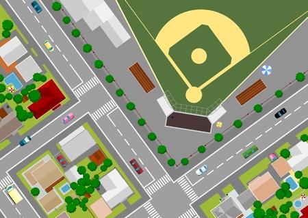 passage clout�: terrain de baseball � la p�riph�rie de Illustration