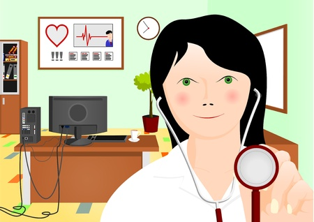 computer health: doctor with stethoscope Illustration