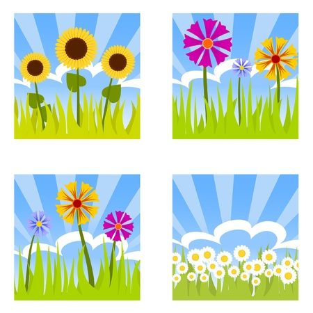 sun bed: four flower buttons Illustration