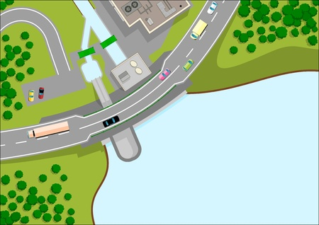 2d map: small dam and road Illustration