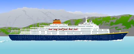 cruise cartoon: cruise ship in the mountainous coast