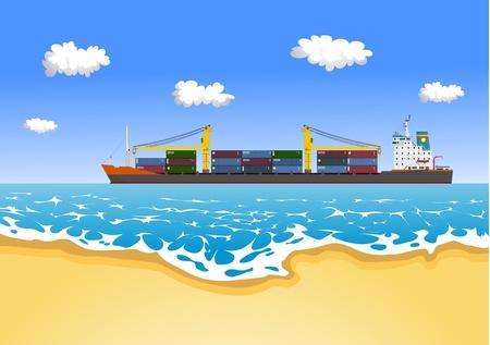 Cargo Container Ship Stock Vector - 10832126
