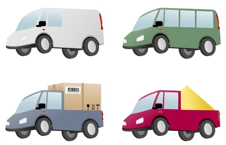 minivan: four vans with cargo Illustration