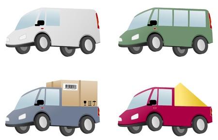 minivan: four vans with cargo Illustration
