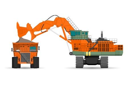camion volquete: excavadora gigante y cami�n de volteo ridig en una mina de superficie