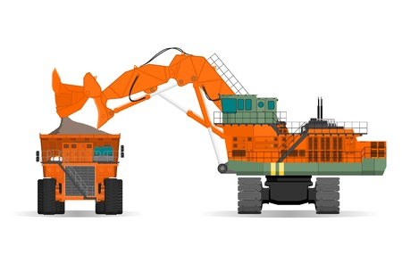 mine: giant excavator and ridig dump truck in a surface mine Illustration