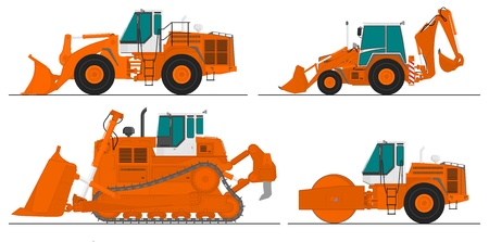 bulldozer: set of four construction machines Illustration