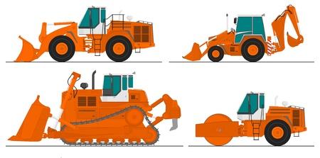 set of four construction machines Illustration
