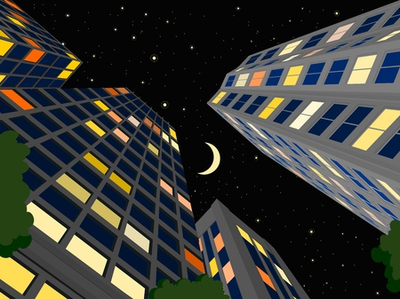 city by night: modern city in the summer night, cartoon illustrations