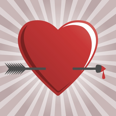 hearts and cupid arrow Illustration