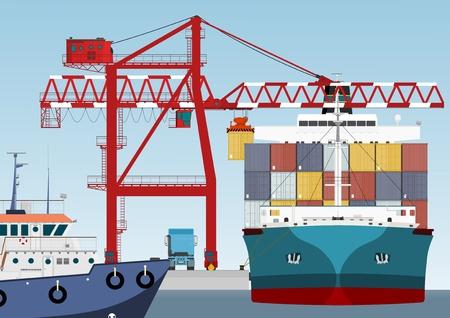 camion grua: Contenedor de barco en el puerto