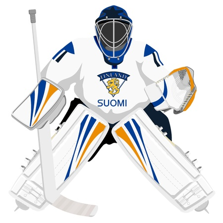 finland: Team Finland hockey goalie Illustration