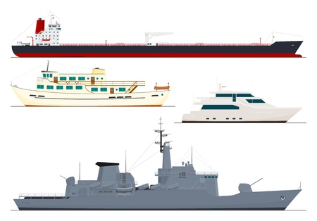 port: four isolated ships Illustration