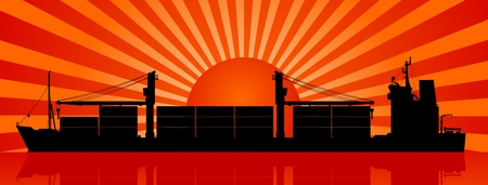 container port: Silhouette of container ship and sunset at sea Illustration