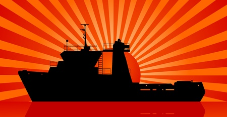 tug boat: Silhouette of tug Boat and sunset at sea