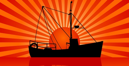 sea port: Silhouette of fishing Boat and sunset at sea