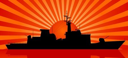 a battleship: Silhouette of battleship and sunset at sea